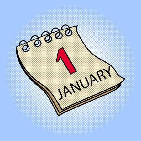Calendar January 1 pop art design raster illustration. Book separate objects. Almanac hand drawn doodle design elements.