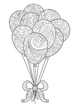 Group of balloons on a string coloring raster for adults