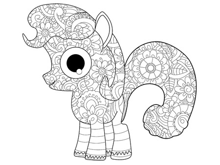 Little horse pony coloring book for adults raster illustration. Anti-stress coloring for adult. Zentangle style nag. Black and white lines listen. Lace pattern
