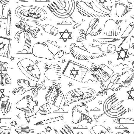 gelt: Hanukkah line art design raster illustration seamless coloring book. Separate objects. Hand drawn doodle design elements. Stock Photo