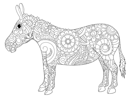 Donkey coloring book for adults raster illustration. Anti-stress coloring for adult ass. Zentangle style jackass. Black and white lines listen goat. Lace pattern brayer and moke