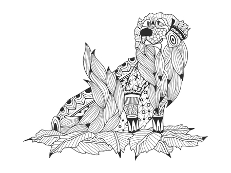 dachshund: Labrador Retriever in the leaves coloring book for adults raster illustration. Anti-stress coloring for adult dog. Zentangle style nature pet. Black and white lines symbol guard. Lace pattern friend.