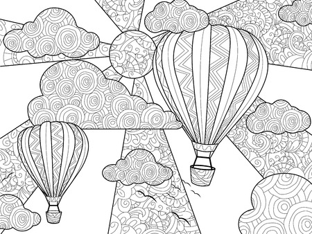 Aeronautic balloon coloring book for adults raster illustration.