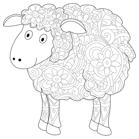 Ram animal coloring book for adults raster illustration. Anti-stress coloring for adult herbivorous.  style. Black and white lines. Lace pattern lamb