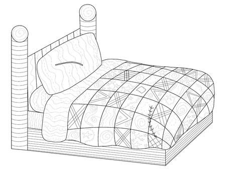 Bed met een patchwork quiltl kleurboek voor volwassenen raster illustratie. Antistresskleuring voor meubelen voor volwassenen. stijl slaapkamer. Zwart en wit lijnen comfort. Kantpatroon