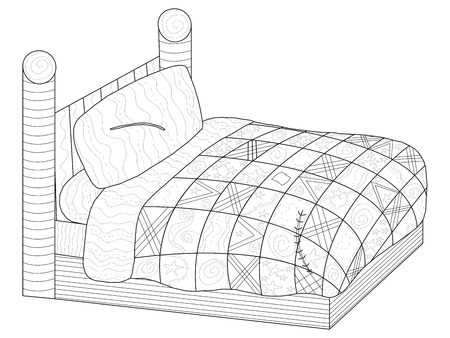 Bed with a patchwork quiltl coloring book for adults raster illustration. Anti-stress coloring for adult furniture.  style bedroom. Black and white lines comfort. Lace pattern