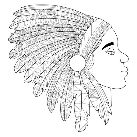 Head of an Indian in headdress war bonnet raster
