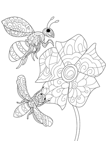 Bee on a flower animal coloring book for adults raster illustration. Anti-stress coloring for adult.  style wasp. Black and white lines. Lace pattern insect