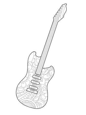 Musical instrument guitar coloring book for adults raster illustration. Anti-stress coloring for adult.  style. Black and white lines. Lace pattern
