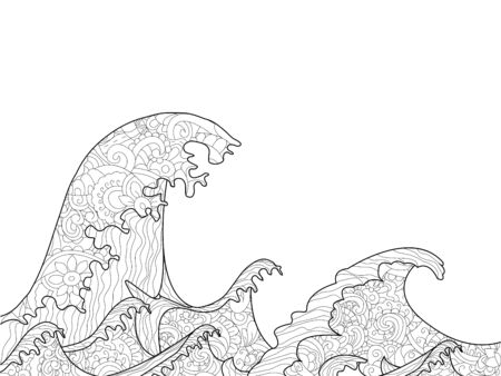 hokusai: The Great Wave off Kanagawa coloring book for adults raster illustration. Anti-stress coloring for adult water, river, stream, sea, ocean, sea foam.  style nature . Black and white lines Stock Photo