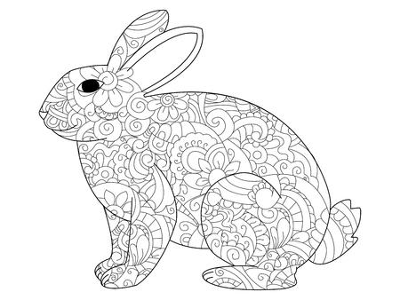 Raster illustration of the rabbit in  and ethcnic style. Bunny tattoo, coloring page, t-shirt, card, poster, print design. Black and white lines hare. Lace pattern grass