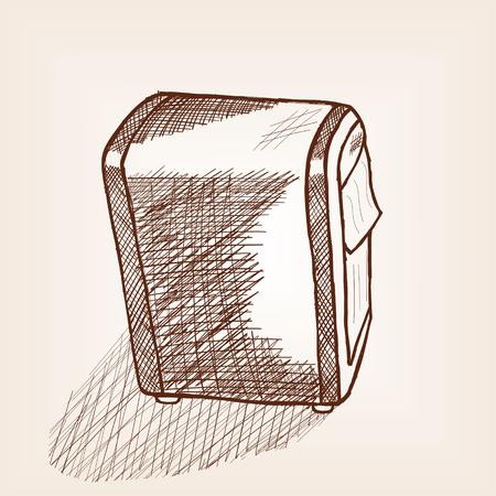 Dispenser for napkins with press. Hand drawn sketch imitation, vector illustration. Illustration