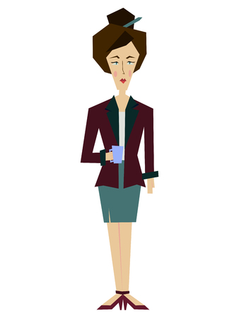 Flat female office worker, a librarian, secretary, a business lady. Business Woman Human Resources, Business Woman Cartoon Character Full Length flat raster Illustration