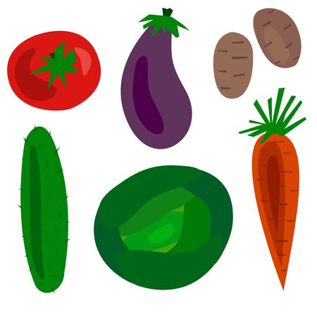 Verduras de dibujos animados plana conjunto ilustración de la trama. Objetos pepino, tomate, repollo, zanahorias, berenjenas, patatas y calabacines