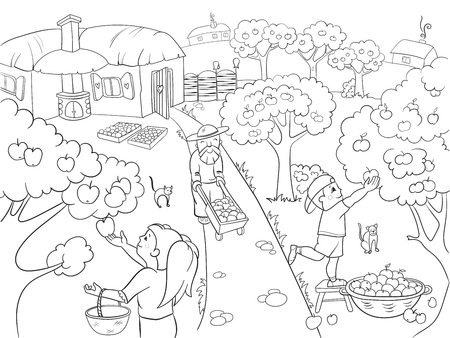 Kids Coloring cartoon on the theme of harvest raster illustration. Zentangle style. Black and white, children, garden, village, apples, harvest, autumn