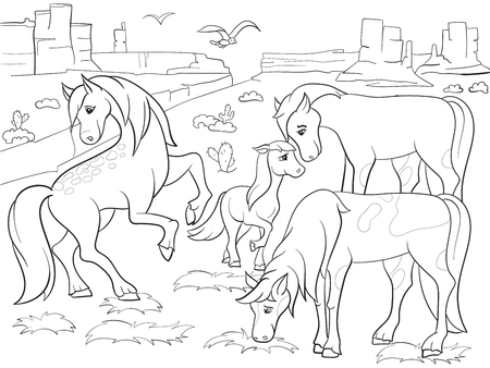 Children coloring cartoon horses grazing on meadow raster Zentangle style. Black and white