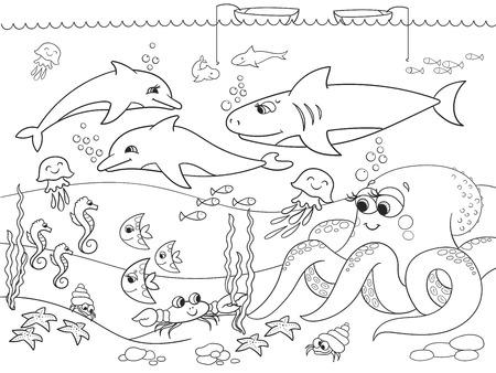 Zeebodem met zeedieren. Raster kleuren voor kinderen, cartoon. Vis, octopus, haai, dolfijn, boot, vissen, zeester, vis maan krab kanker bodem zeewier golven en zeepaard Stockfoto