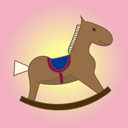 Pop art kind houten paard. Carrousel voor kinderen. Speelgoed vectorillustratie Stock Illustratie