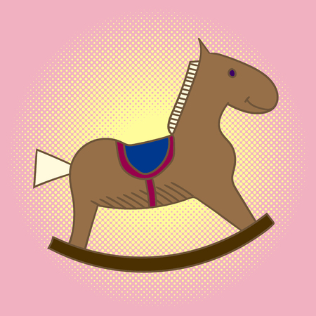 Pop art child wooden horse. Carousel for children.Toys vector illustration