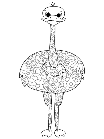 Common ostrich coloring book vector illustration bird. Anti-stress coloring for adult.