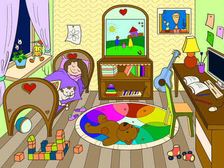 kids on the theme of childhood room coloring illustration. Line room, sleeping girl, lots of toys