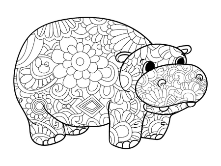 Hippopotamus coloring book vector illustration animal. Anti-stress coloring for adult. Zentangle style. Black and white lines. Lace pattern