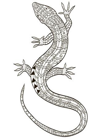 도마뱀 색칠 공부 래스터 성인을위한 그림입니다. 어른을위한 스트레스 방지 색소. Zentangle 스타일. 흑백 선은 들어 봤다. 레이스 패턴 스톡 콘텐츠