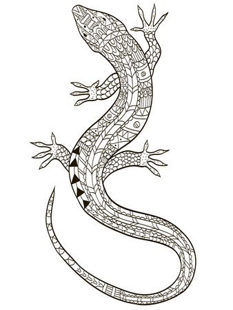 Lizard coloring raster for adults illustration. Anti-stress coloring for adult. Zentangle style. Black and white lines listen. Lace pattern