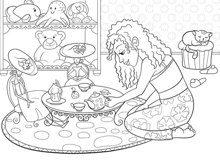 Kinder, Die Rastermädchen Im Kinderzimmer Spielen Mit Puppen Färben ...