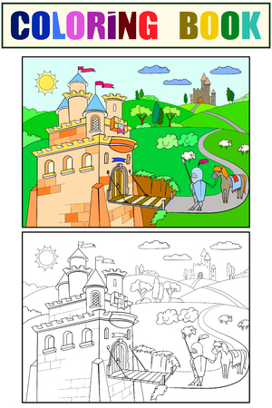 knightly: Kids Coloring cartoon knightly castle vector. Black and white, knight, horse, armor, castle, fairy tale and nature