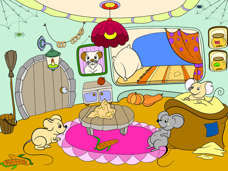 Children cartoon house family mouse