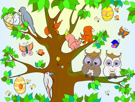Animals and birds living on the tree coloring for children cartoon vector illustration Stok Fotoğraf - 91991143