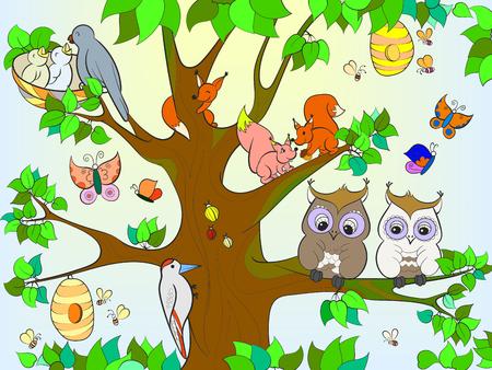 Dieren en vogels die op de boom leven die voor de vectorillustratie van het kinderenbeeldverhaal kleuren
