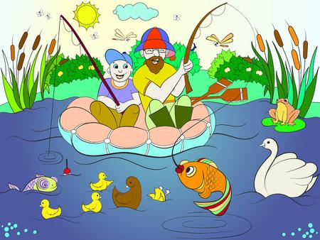 Pêche père et fils sur la rivière à colorier pour les enfants. Banque d'images - 91431344