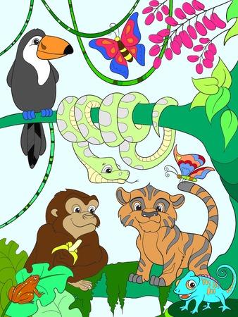 Jungle forest with animals cartoon illustration. 일러스트
