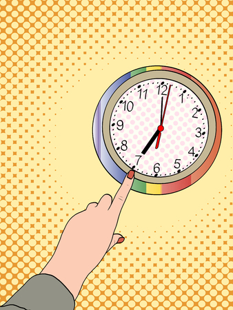 Pop art hand shows on a wall clock. Half past seven in the morning vector illustration.