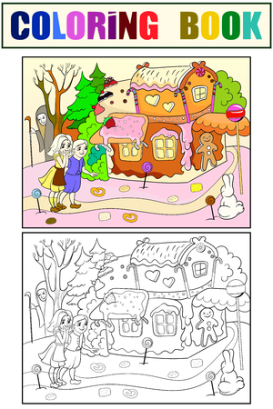 Childlike color vector story scene with pair of children eating some sweets, near colorful cottage in deep forest. Illustration
