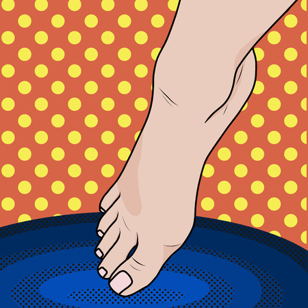 Pop art Female foot falls into hot or cold water. Illustration