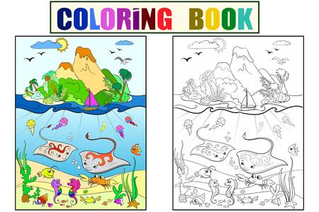 Onderwaterwereld met vissen, planten, eiland en caravel kleuren voor kinderen cartoon vectorillustratie Stockfoto - 93216849
