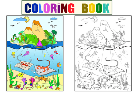 Underwater world with fish, plants, island and caravel coloring for children cartoon vector illustration Ilustrace