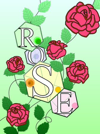 Color roses with the inscription Rose. Letters, buds and leaves vector Ilustração