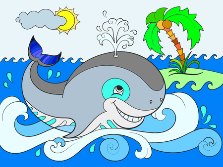 Blue whale on a background of ocean color for children cartoon illustration. 版權商用圖片 - 93413136