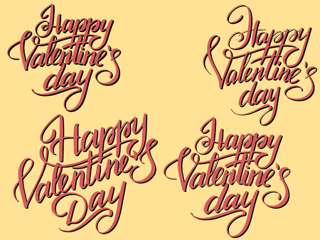 Set Happy Valentines Day Typographic Lettering isolated on retro color. dark red letters