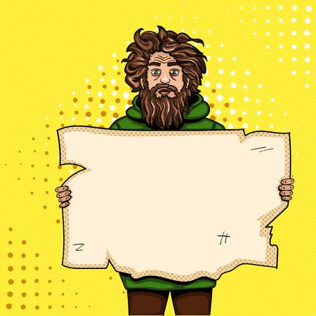 Dakloze man met papier teken pop-art stijl vectorillustratie. Imitatie van een stripboek. Vintage retro stijl. Conceptuele illustratie