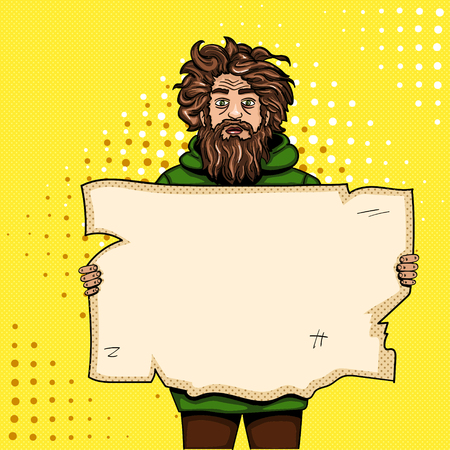 Homeless man with paper sign pop art style vector illustration. Comic book style imitation. Vintage retro style. Conceptual illustration Vettoriali