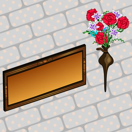 Memorial plaque and flowers. Comic book style imitation. Vintage retro style. Conceptual illustration Vectores