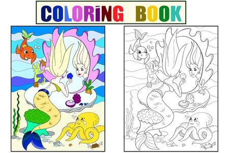 La sirena si guarda allo specchio libro da colorare per bambini fumetto illustrazione vettoriale. Colore, bianco e nero Archivio Fotografico - 93881998