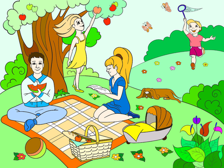 Picnic in nature color book for children cartoon vector.