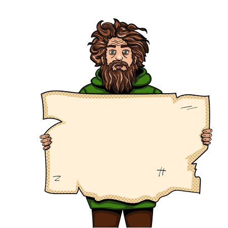 Homeless man with paper sign pop art style vector illustration. Comic book style imitation. Object On white background