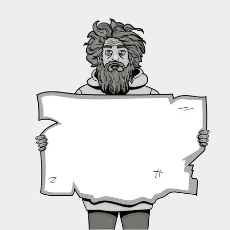 Homeless man with paper sign pop art style illustration. Comic book style imitation. Object black and white pencil. Shades of gray
